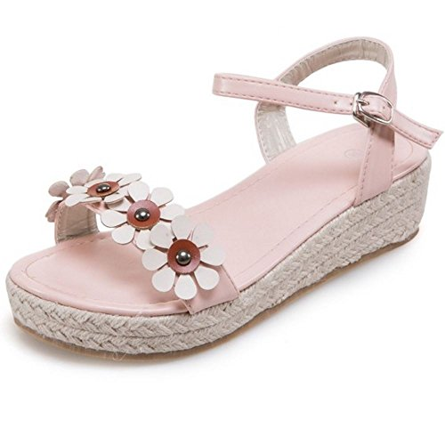 COOLCEPT Mujer Moda Ankle Strap Sandalias Punta Abierta Zapatos With Flor Rosado