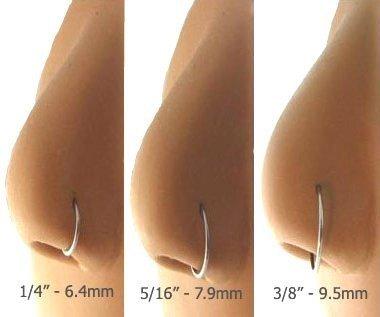 Nose Ring Surgical Steel With Flat Back 18 Gauge 3 8 Length Set