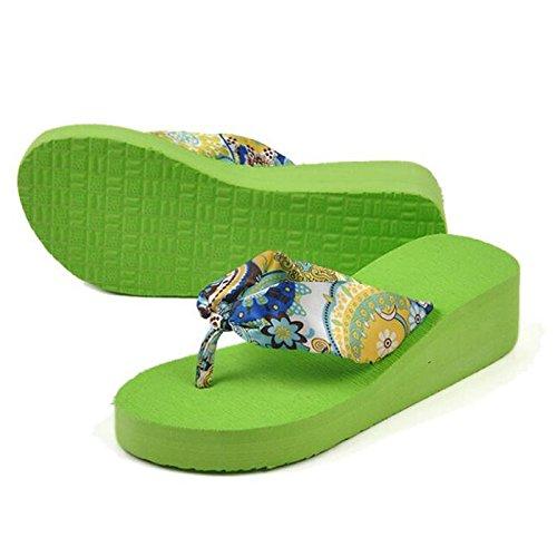 Bohemias Con Tamano Flor Chancletas Plataforma De Verano Azul Sandalias Para R Mujer Cunas De 7 Playa De De Sandalias Verde TOOGOO US YwIqTXx