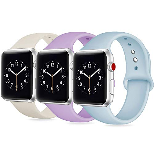 DOBSTFY Compatible for iWatch Band 38mm 40mm 42mm 44mm, Soft Silicone Sports Band Replacement Wristband Compatible for Watch Series 4/3/2/1 for Men Women Small/Large, 42mm 44mm M/L, 3PACK