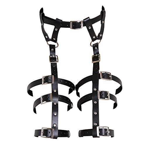 ClearUmm Leg Harness Waist Caged Garters Thigh Leather Blet Adjustable for Women Cosplay Party Rave Costume Bodysuit Outfit