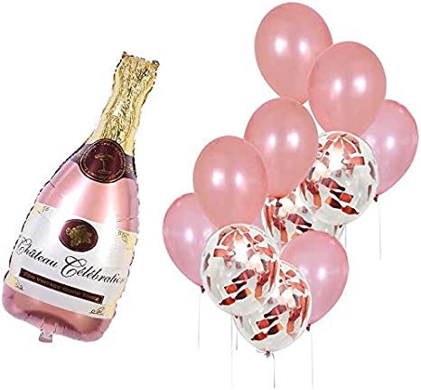 Amazon Com Rose Gold Champagne Bottle Wine Mylar Balloons Party Decoration Kit Valentine S Day Bridal Shower Wedding Bachelorette Celebration Anniversary Party Decorations Health Personal Care