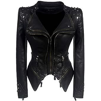 DISSA P8005 Women Faux Leather Biker Jacket Slim Coat Leather Jacket,Black,S,UK 10