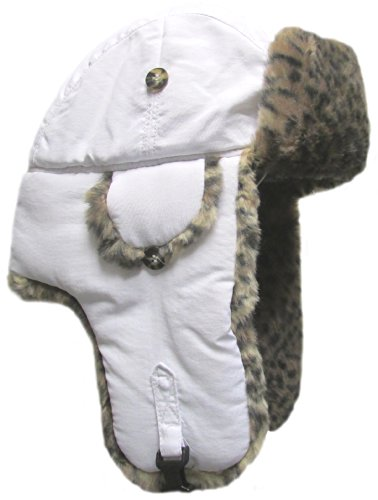 Mad Bomber Original White Pilot Aviator Hat Faux Fur Trapper Hunting Cap, X-Large
