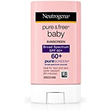 Neutrogena Pure & Free Baby Mineral Sunscreen Stick with Broad Spectrum SPF 60 & Zinc Oxide, Water-Resistant, Hypoallergenic, Oil- & PABA-Free Baby Sunscreen, 0.47 oz