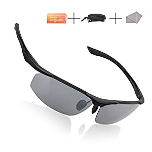 H.K.A Sport Styles Polarized Sunglasses Mirror Eyewear With Case for Business, Driving, Fishing, Bicycle Riding, Golfing or Vacation (Silver Gray)