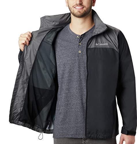 Columbia Men's Big & Tall Glennaker Lake Packable Rain Jacket,Black/Grill,4X