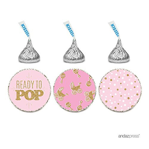 Favors Chocolate Pop - Andaz Press Chocolate Drop Labels Trio, Girl Baby Shower, Ready to Pop, Pink with Printed Gold Glitter, 216-Pack