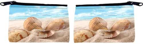 Rikki Knight Seashells in Sand on Beach Design Scuba Foam Coin Purse