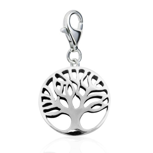 Sterling Silver Cut Out Tree of Life with Lobster Clasp Charm