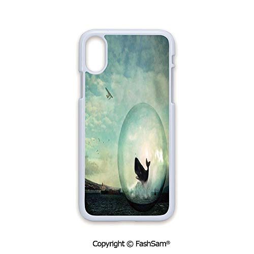 Fashion Printed Phone Case Compatible with iPhone X Black Edge Environmental Image with a Whale in an Egg Near a Oil Tank and Plane Artwork 2D Print Hard Plastic Phone Case
