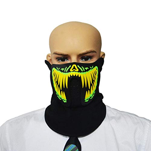 Coohole Party Mask,Halloween Music LED Party Mask Sound Active Dancing,Riding,Skating,Party Any Festival -