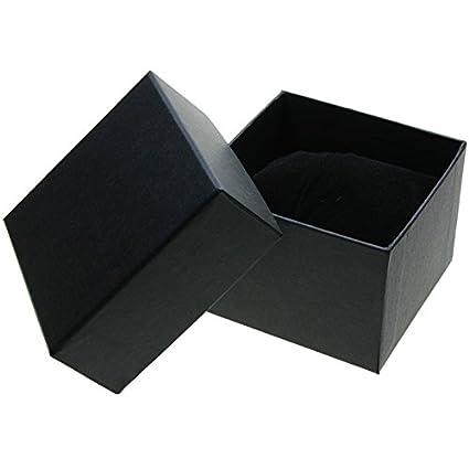 CHRISTIAN GAR Pack de 24 Estuches para relojería de cartón con Esponja. (10 x 10 x 7 cm) Color Negro