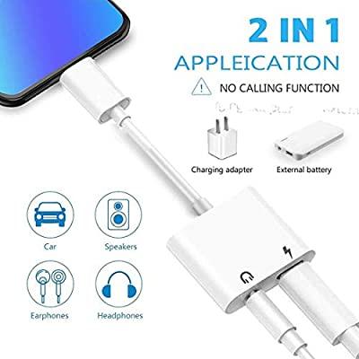 Headphone Adapter for iPhone 11 pro 3.5mm Jack Car Charger AUX Converter Splitter Charge & Audio Cables 2 in 1 for iPhone 7/7 Plus/8/X/10/11/XR/XS/XS Max Dongle Earphone Adaptor Support iOS System: Electronics