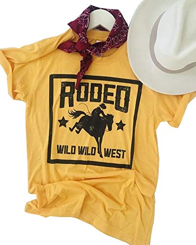 Anbech 80s Rodeo T-Shirt Women Short Sleeve Classic Retro Female Casual Tee Tops (S, Yellow)