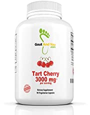 Tart Cherry Capsules with Maximum Potency (3000 per serving mg ) and Fast Acting - Natural Tart Cherry Extract Supports Uric Acid Related Pain Relief, Flare Ups, Swelling, Inflammation - A Canadian Company