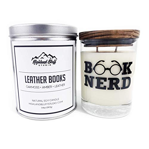 Leather Books - 14oz Soy Candle - Oakmoss, Amber, and Leather