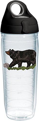 Tervis 1232013 Black Bear Tumbler with Emblem and Black with Gray Lid 24oz Water Bottle, Clear (Tervis Water Bear Bottle)