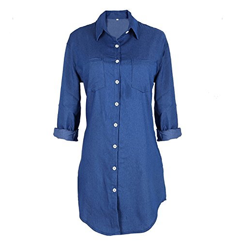 Henraly Casual Long Jeans T Spring Autumn Women Long Sleeve Loose Denim Mini Dress