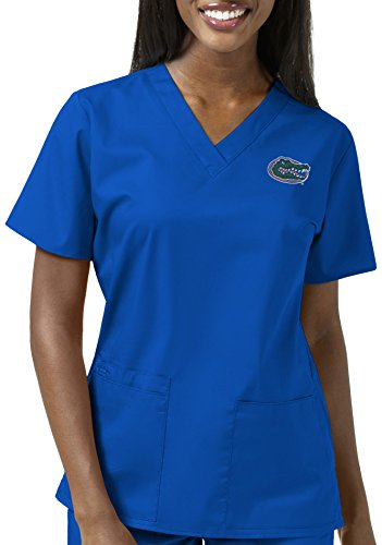 State University Drapes Louisiana (WonderWink Women's University Florida V-Neck Top, Royal, X-Large)