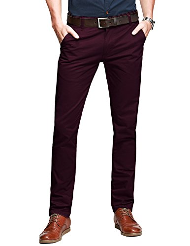 Match Mens Slim-Tapered Flat-Front Casual Pants(8025 Wine red, 30W x 31L)