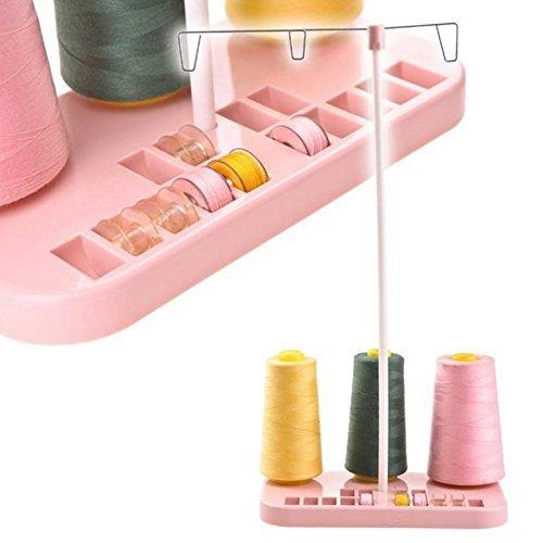 Sewing Thread Stand Adjustable 3 Thread Spools Plastic Holder Pink - 1