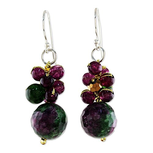 NOVICA Multi-Gem Dyed Quartz and Glass Bead Cluster Earrings with .925 Sterling Silver Hooks, Sweet Berries'