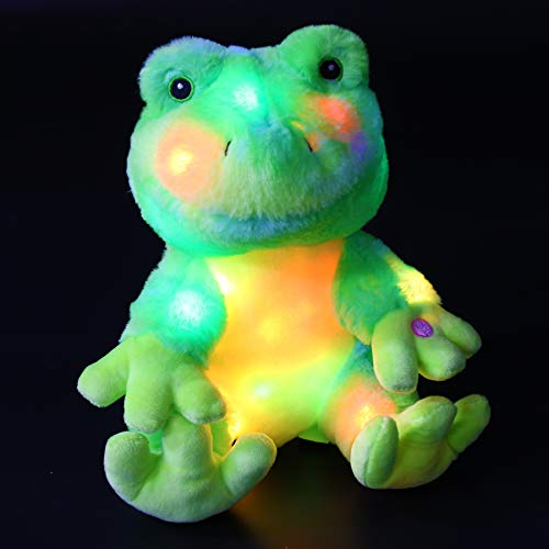 Bstaofy Glow Frog Stuffed Animal LED Sleeping Companion Bedtime Plush Toy Afraid of Dark Green Gift for Kids Toddlers on Birthday Christmas Halloween Festival Occasions, 10''