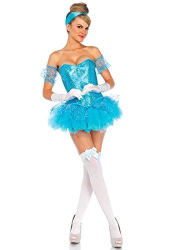 Leg Avenue Women's 5 Piece Cinderella Costume, Aqua, Small -