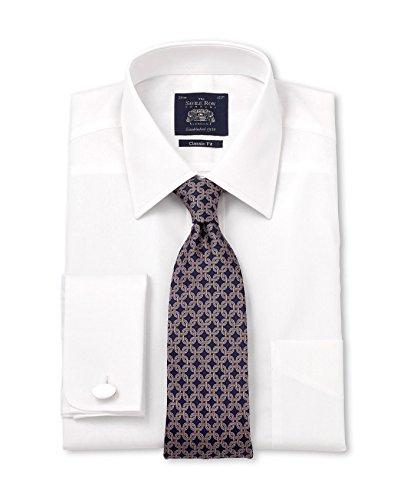 Savile Row Men's White Poplin Classic Fit Shirt White