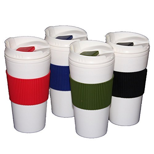 (Set of 4 Double Wall Travel Mugs with Colorful Wraps and Lids, 16 oz. - Black, Red, Royal Blue, Sage Green)