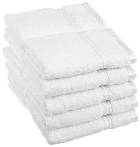 Superior 100% Long Staple Combed Cotton Face Towel Set, 10 Piece, White