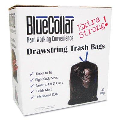 BlueCollar Drawstring Trash Bags, 13gal.80mil, 24 x 28, White, 80/Box