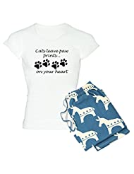 CafePress - Cats Leave Paw Prints On Your Heart Pajamas - Women's Light Pajamas