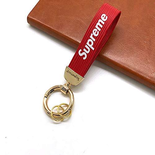 (Latest urban style keychain fashion keychain rubber metal keychain couple keychain (Red gold))