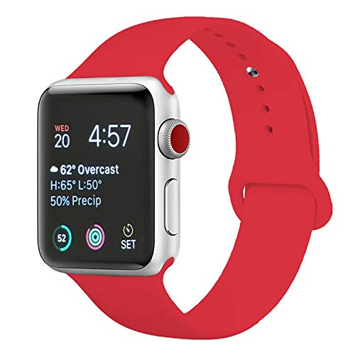 DOBSTFY Compatible with iWatch 38mm 42mm 40mm 44mm Sport Band, Waterproof Durable Soft Silicone Replacement Bands Women Men Wrist Strap for iWatch Series 4/3/2/1 All Various Styles (Red, 38mm S/M)