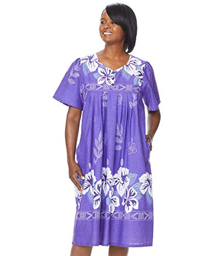 AmeriMark Womens Patio Dress Lounger Floral Print Border Short Sleeve and Pockets Violet 5X (Patio Dresses Size Plus)