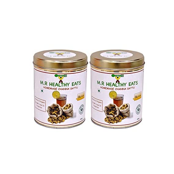 M.R Healthy Eats Organic Chana Sattu, 500 g Each, Pack of 2 (In Eco-Friendly Steel Container)