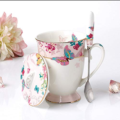 chmhy Ceramic Mug Spot Fashion Simple Teacup with Spoon with Cherry Blossom Love Powder Goblet with Spoon Cover 301-400Ml ()