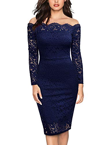 Miusol Women's Vintage Off Shoulder Flare Lace Slim Cocktail Pencil Dress (Medium, E-Navy Blue)