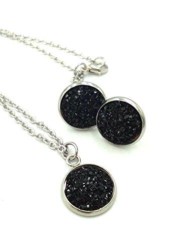 Black Agate Dome Ring - luo 12set/pack 12colors Elegant druzy Pendant Necklace Earrings Set Jewelry Set Women (Black)