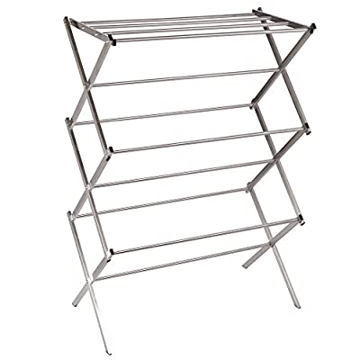 Household Essentials Folding X-Frame Clothes Dryer, Stainless Steel - Folding clothes dryer with 11 drying rods to air dry clothing and laundry Notch hooks over the top of the frame provide easy and secure set up Tapered feet for stability - laundry-room, entryway-laundry-room, drying-racks - 41hAsnYfYnL. SS400  -