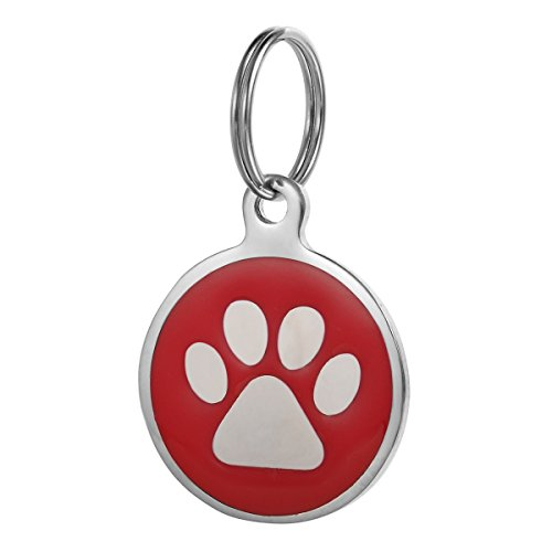 Valyria Stainless Steel Enamel Round Paw Print Dog Pet ID Tag Disc 25mm - Red 1 Disc Enamel