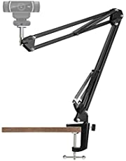 """Webcam Stand - 14 Inch Suspension Scissor Durable Bracket with Aluminum Desk Clamp Mount - Built-in 1/4"""" Screw for Logitech Webcam C930e,C930,C920, C922x,C922, Brio 4K, C925e,C615 by Pipishell-PIWS03"""