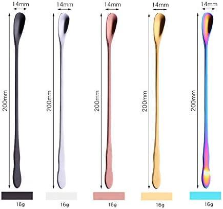 QINGYU Löffel mit langem Griff 5er-Set (farbig), Cocktail-Rührlöffel/Latte-Löffel, für Eiscreme-Cocktail-Rührlöffel-20 cm