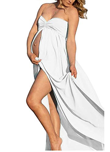 Chiffon Strapless Silk Gown - White Maternity Off Shoulder Tube Chiffon Gown Split Front Strapless Maxi Pregnancy Photography Dress for Photo Shoot and Baby Shower