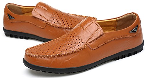 Slip Leather Fashion brown R on hole228 Men's Casual Loafers Shoes VanciLin wIC61qx