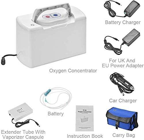 HY - Generador de oxígeno portátil (3 l/min, 30 % de pureza del oxígeno, purificador de aire con batería recargable ...