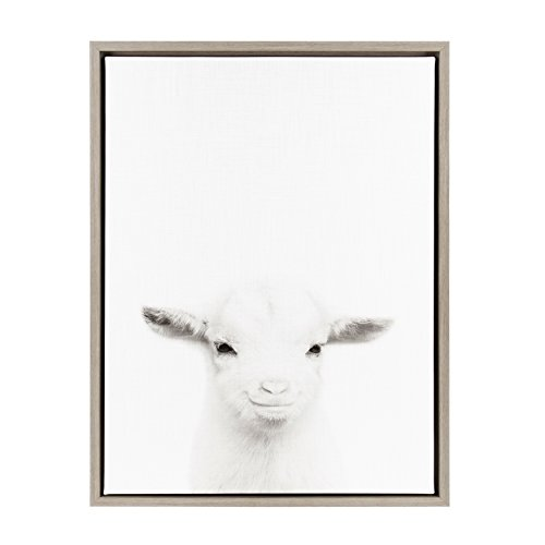 Kate and Laurel Sylvie Baby Goat Black and White Portrait Gray Framed Canvas Wall Art by Simon Te (White Goat)