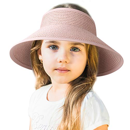 (Sun Visor Hats for Women Wide Brim Straw Roll Up Ponytail Summer Beach Hat UV UPF Packable Foldable Travel FURTALK (One Size, Kids-Pink))